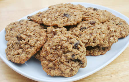 Oatmeal Raisin Cookies on a White Dish photo