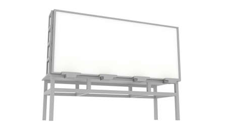 Blank 3D Rendered Billboard on White Background Stock Photo