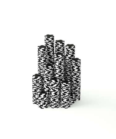 3D Rendered Stacks of Black and White Poker Chips Stock Photo