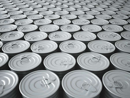 Infinite Stockpile of 3D Rendered Tin Cans Fading Into The Background photo