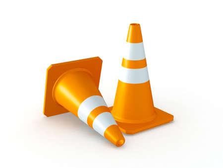 3D Rendered Orange Traffic Cones on White Background Stock Photo