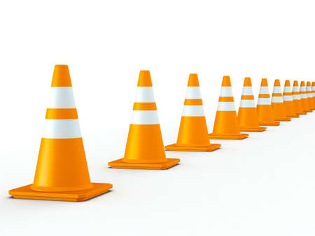 3D Rendered Line of Orange Traffic Cones on White Background