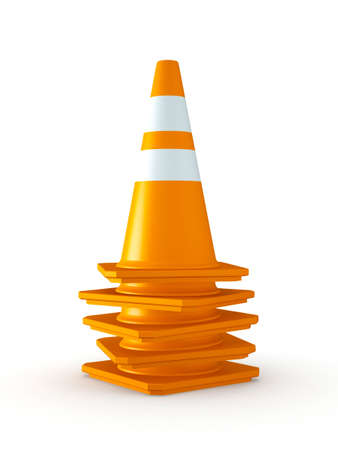 3D Rendered Stack of Orange Traffic Cones on White Background Stock Photo