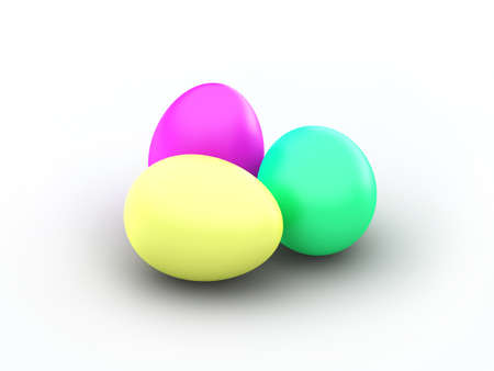 Three pastel dyed easter eggs on a white background
