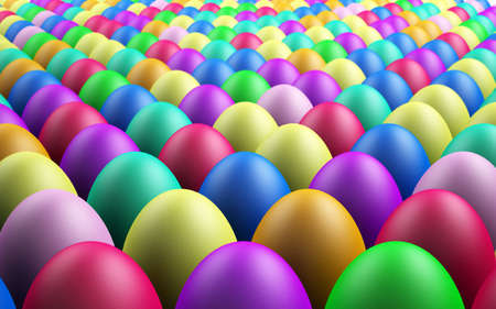 Infinite Rows of 3D Rendered Easter Eggs Fading Into The Background