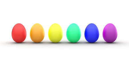 3D Rendering of a Line of Rainbow Colored Easter Eggs Stock Photo