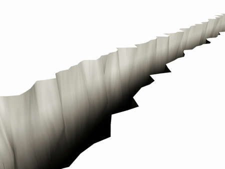 3D Rendering of a Large Rift in the Ground