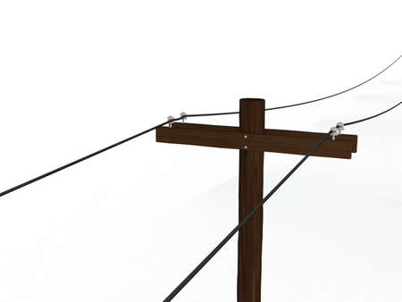 High Angle View of a 3D Rendered Power Pole on a White Background