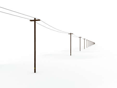 Endless Line of 3D Rendered Power Poles Fading Into a White Background