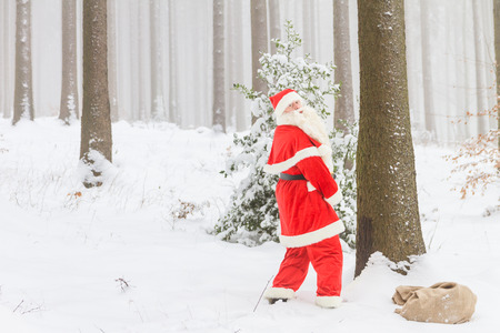 Santa Claus is surprised while he pees against a tree in the woods.