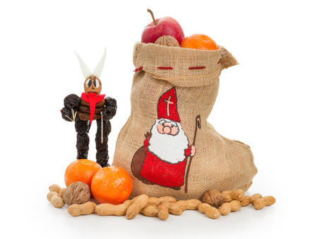Saint Nicholas and Krampus concept. Central european Nikolaus and Krampus folklore in Austria, Bavaria Germany,Croatia,Czech Republic,Hungaey, Northern Italy,Slovakia and Slovenia.