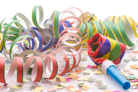 Confetti and garlands decoration for celebration. Isolated on white background.