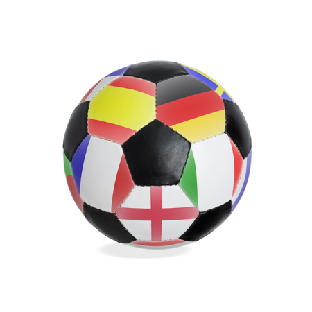 Classic soccerball with different flags isolated on white background