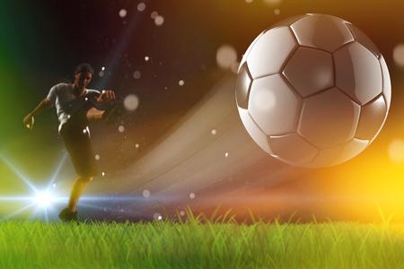Soccer ball, player kick off , champions league Zdjęcie Seryjne