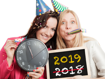 Two women ready to celebrate new year 2019