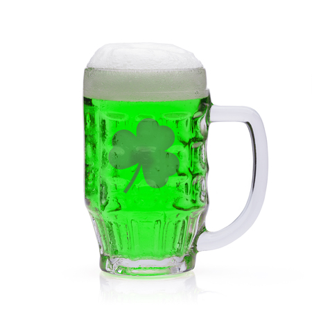 Green beer with shamrock inside. Symbol for St. Patrick's day.
