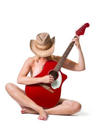 Musical instruments and music concept - beautiful woman with acoustic guitar Zdjęcie Seryjne