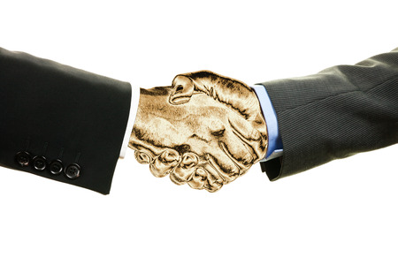 Two businessmen with golden shaking hands isolated on white background. Business, teamwork and finance concept.