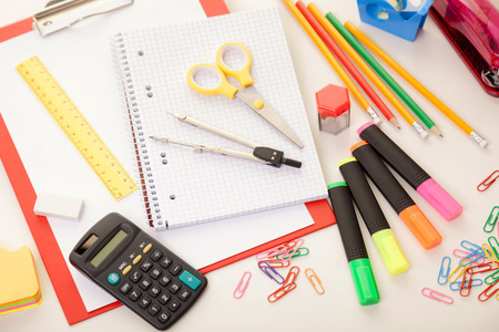 Colorful school or college equipment. Education, office and creative concept. Zdjęcie Seryjne - 122581445