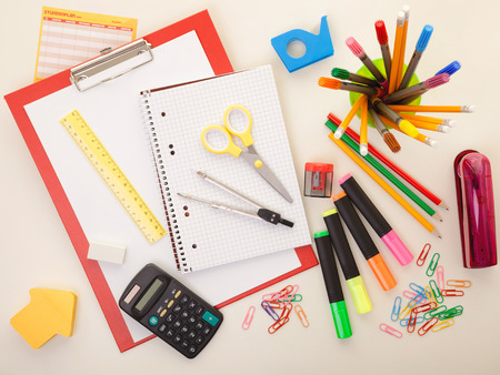 Colorful school or college equipment. Education, office and creative concept.
