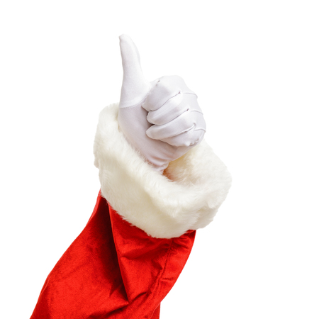 Santa Claus thumb up isolated on white background. Christmas concept. Zdjęcie Seryjne - 122581477