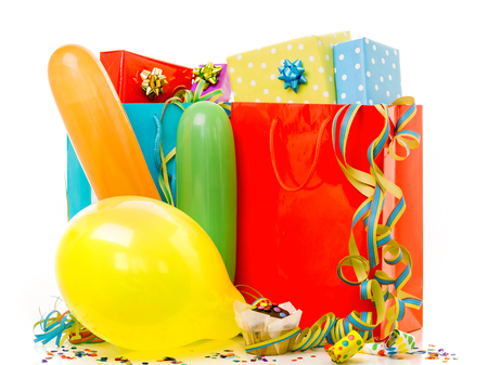 Colorful birthday gift boxes isolated on white background. Birthday, christmas and party concept. Zdjęcie Seryjne