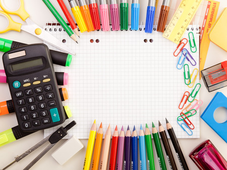 Colorful school or college equipment. Education, office and creative concept. Zdjęcie Seryjne - 122581485
