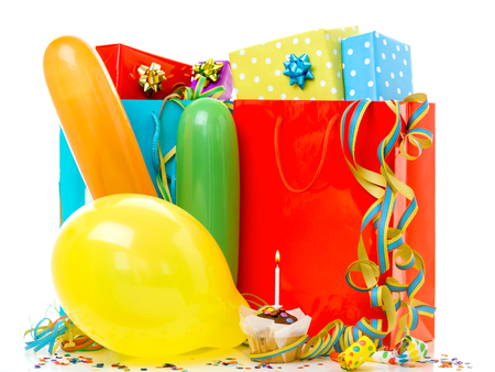 Colorful birthday gift boxes isolated on white background. Birthday, christmas and party concept. Zdjęcie Seryjne - 122581487