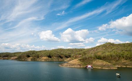raft: A raft at Sirikit Dam in Thailand Stock Photo