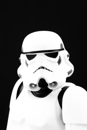 stormtrooper: YORK, UK - JANUARY 24, 2016. A head and shoulders portrait of a Star Wars Stormtrooper from The Force Awakens movie.