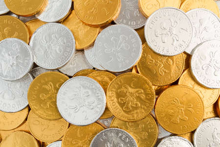 gold and silver coins: Gold And Silver Chocolate Coins