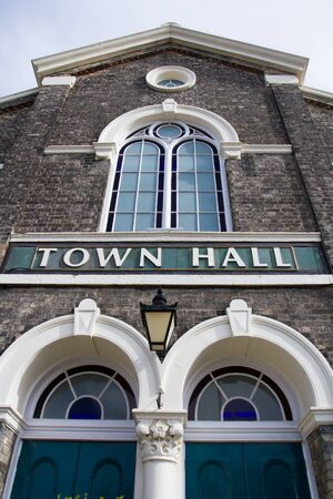 townhall: SELBY, UK - APRIL 21, 2016. The Town Hall building in the Yorkshire, market town of Selby.