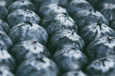 A full frame food background of a close up of fresh, ripe blueberries packed together with copy space