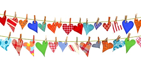 Colorful hearts of scrim hanging on lines