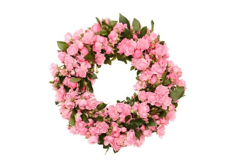 Wreath made of little pink roses