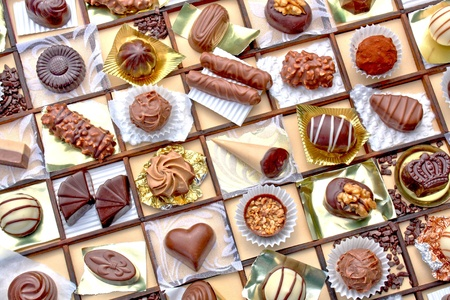 Collage of different shaped chocolate candies  Stock Photo