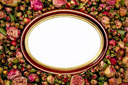 Frame in dried roses