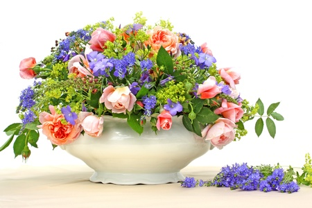 Bouquet of colorful flowers in vase