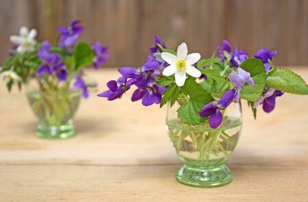 violas: Violas and anemones  in little vases
