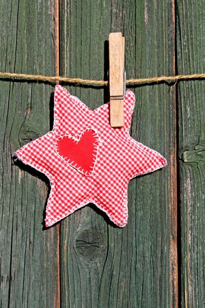 homemade star as outdoor christmas decoration Stock Photo