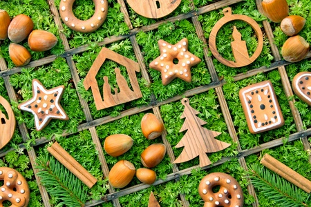 a background of christmas ornaments photo
