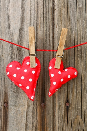two hearts: handmade hearts of scrim on line