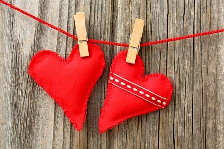 handmade hearts of scrim on line Stock Photo - 11819060