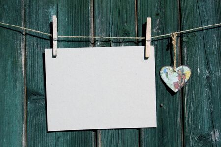 advertising board: advertising board with a small hand-painted heart Stock Photo