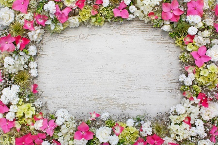 free border: frame made of fresh flowers