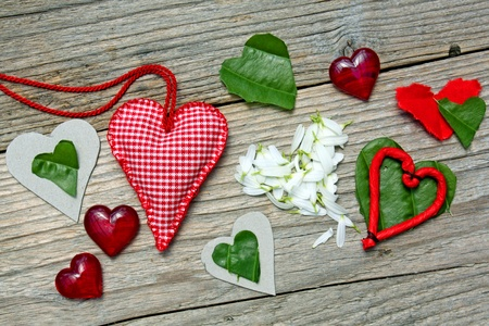 Various love hearts on  wood