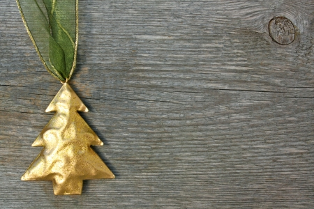 Christmas ornament on wooden background photo