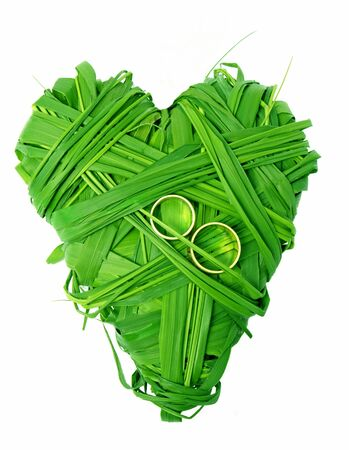 symbolically: heart of made of green fresh grass Stock Photo