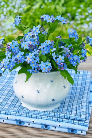 forget me not: bouquet of forget-me-not outdoors in the garden Stock Photo