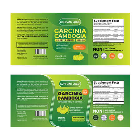 Weight Loss Greenish Garcinia Cambogia Dietary Supplement product Label Design and Packaging Template Extract